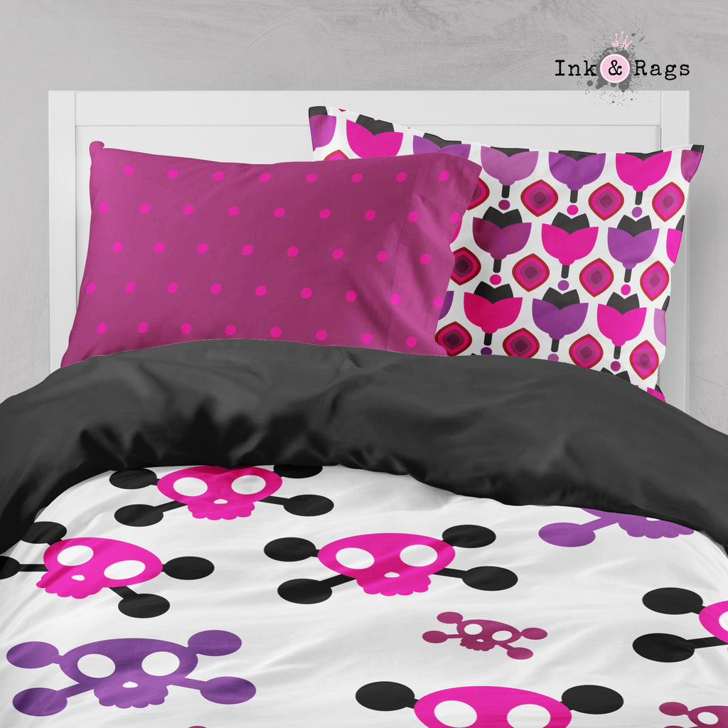 Retro Geometric Candy Skull Big Kids Bedding