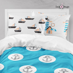 Nautical Anchor Lighthouse Sailboat Seagull Big Kids Bedding