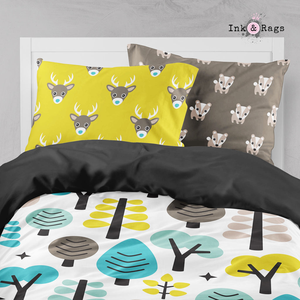 Woodland Creatures Tree Deer Fox Big Kids Bedding