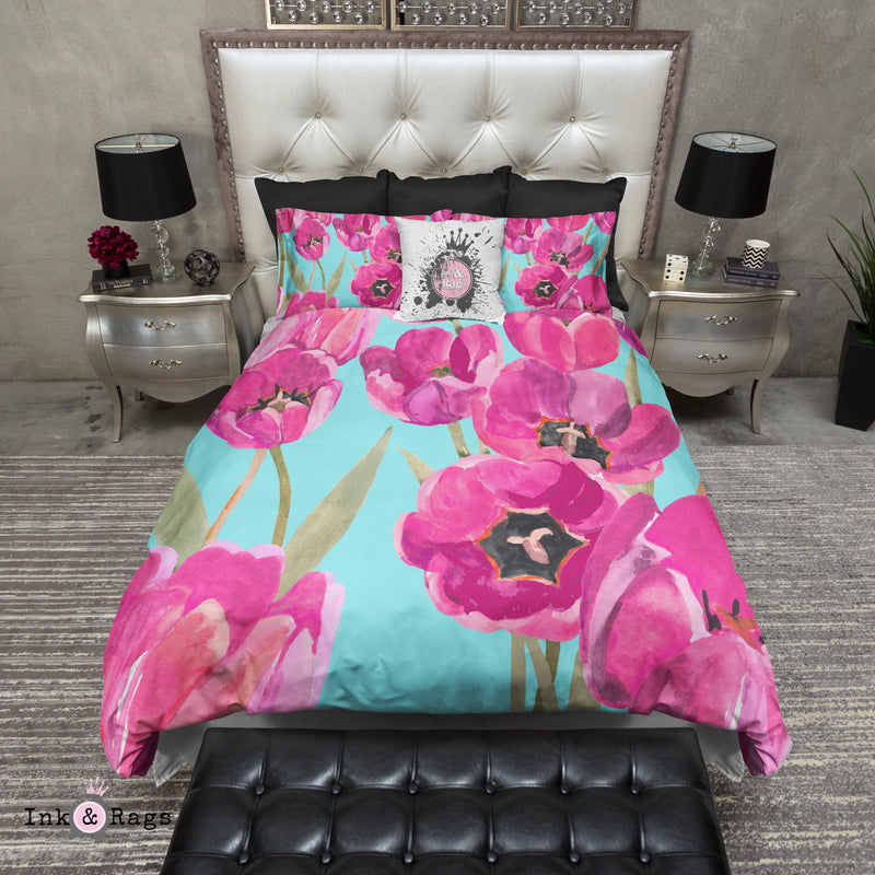 Pink Poppy and Turquoise Bedding
