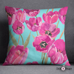 Pink Poppy and Turquoise Decorative Throw Pillow Cover