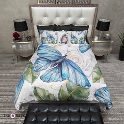 Watercolor Blue Butterfly and White Rose Bedding