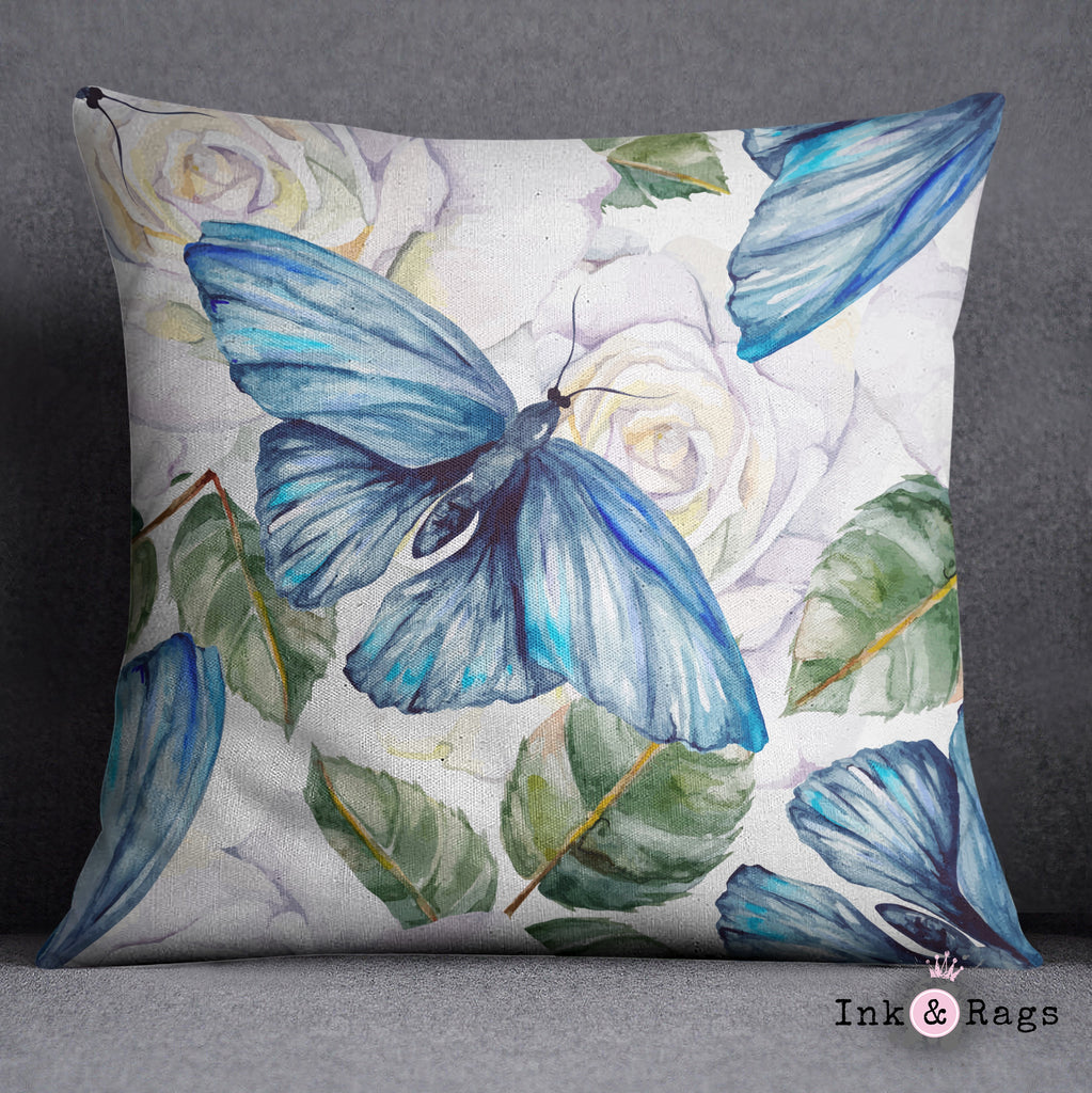 Watercolor Blue Butterfly and White Rose Decorative Throw and Pillow Cover Set