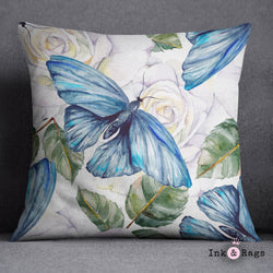 Watercolor Blue Butterfly and White Rose Decorative Throw Pillow Cover