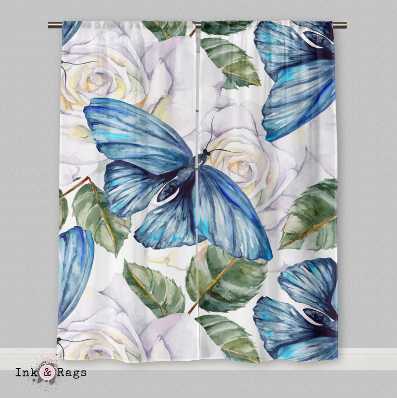 Watercolor Blue Butterfly and White Rose Curtains