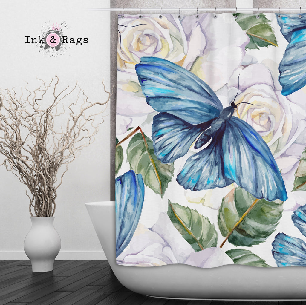 Watercolor Blue Butterfly and White Rose Shower Curtains and Optional Bath Mats