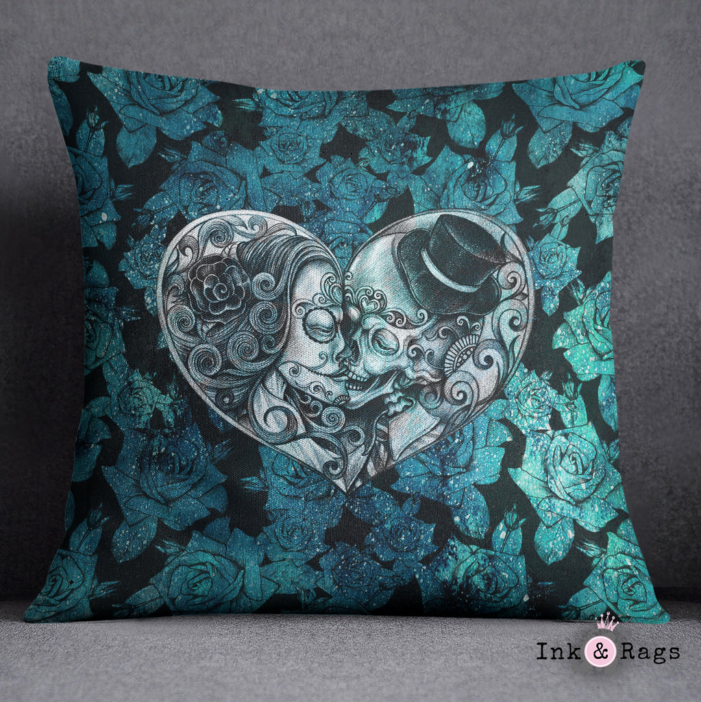 Teal Cosmic Rose Sugar Skull Throw Pillow