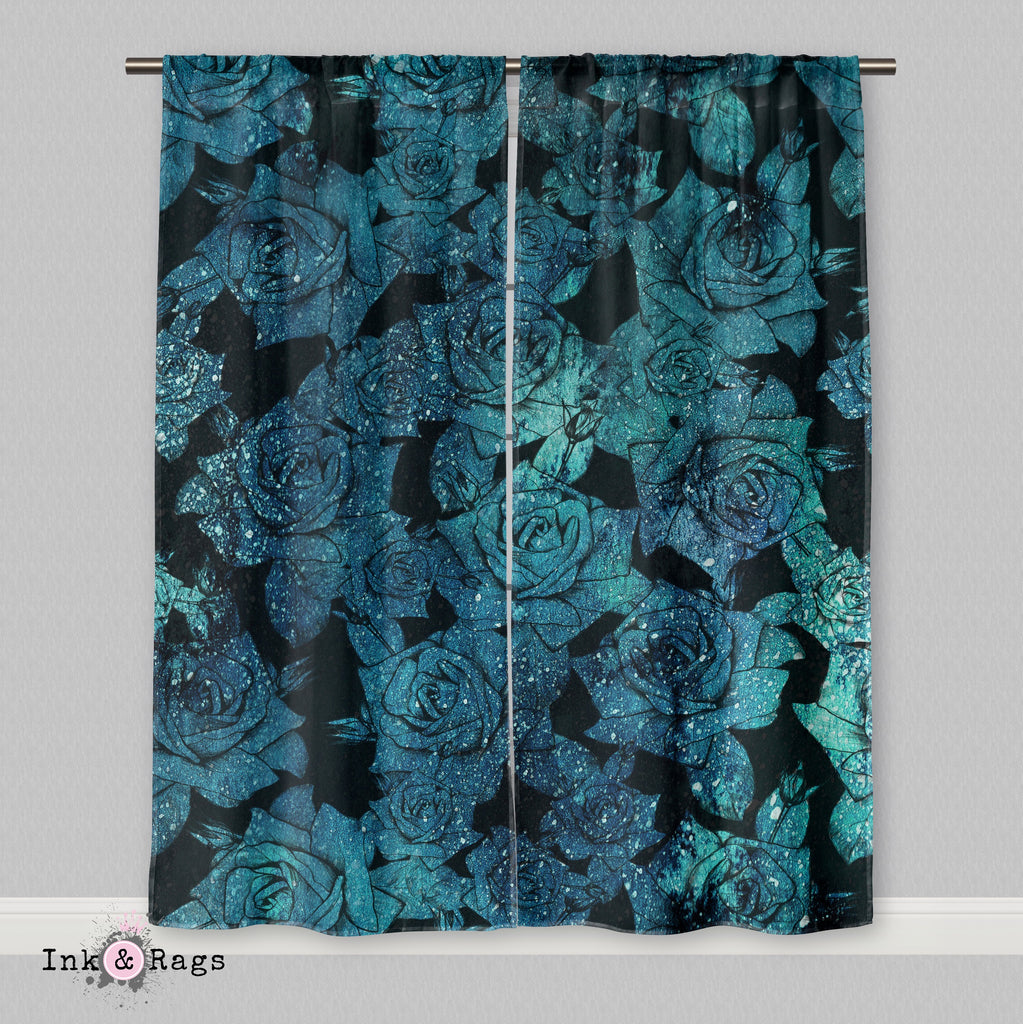 Teal Cosmic Rose Curtains