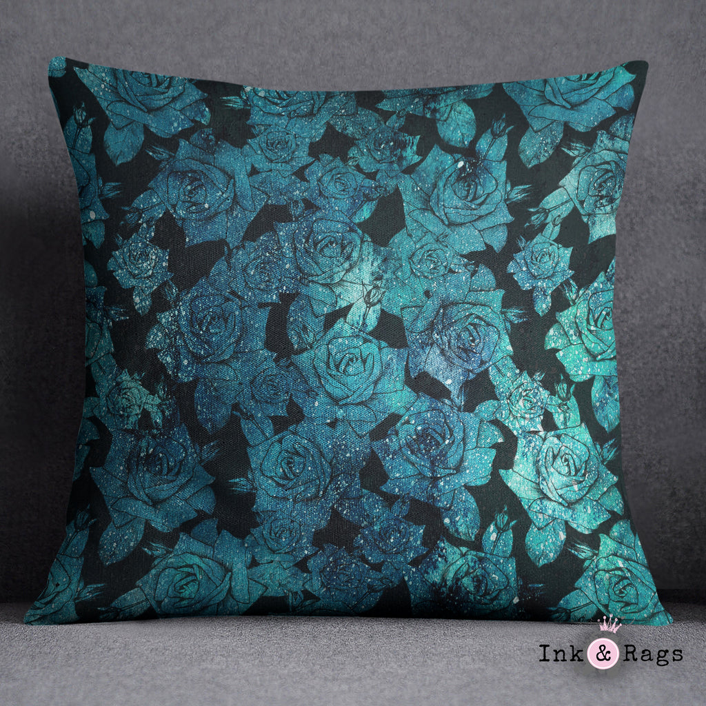 Teal Cosmic Rose Decorative Throw Pillow Cover
