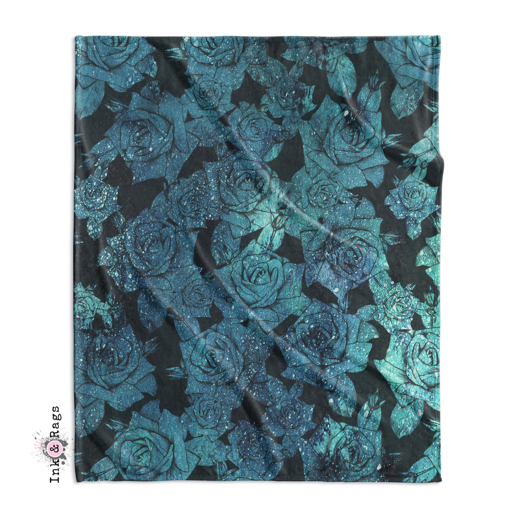 Teal Cosmic Rose Decorative Throw and Pillow Cover Set