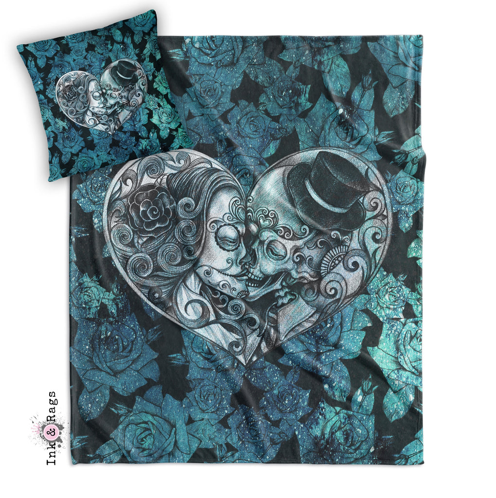 Copy of Teal Cosmic Rose Sugar Skull Decorative Throw and Pillow Cover Set