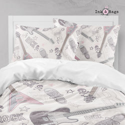 Rock Star Guitars, Skulls, and Sneakers Big Kids Bedding