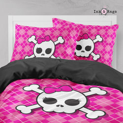 Hot Pink Argyle Plaid with Candy Skull Big Kids Bedding