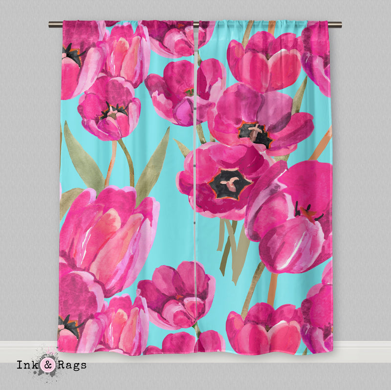 Pink Poppy and Turquoise Curtains or Sheers