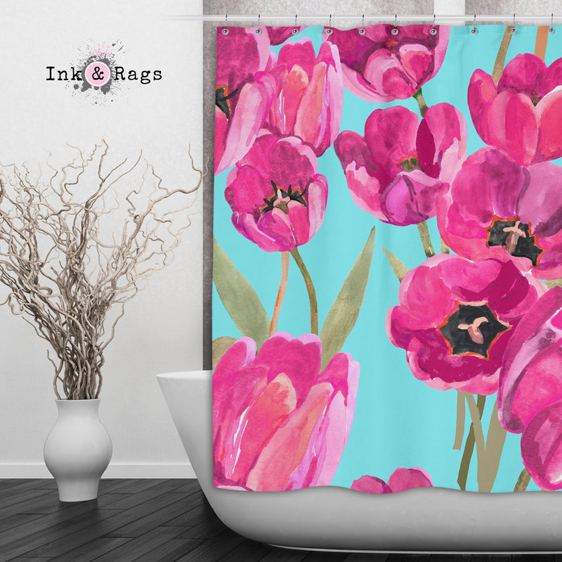 Pink Poppy and Turquoise Shower Curtain