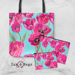 Pink Poppy and Turquoise Casual Tote OR Cosmetic Pouches