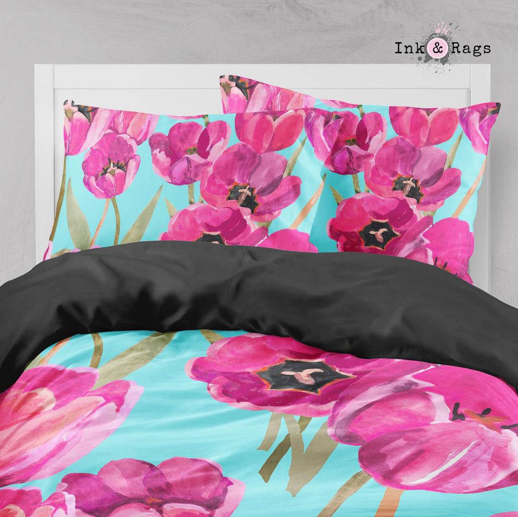 Pink Poppy and Turquoise Big Kids Bedding