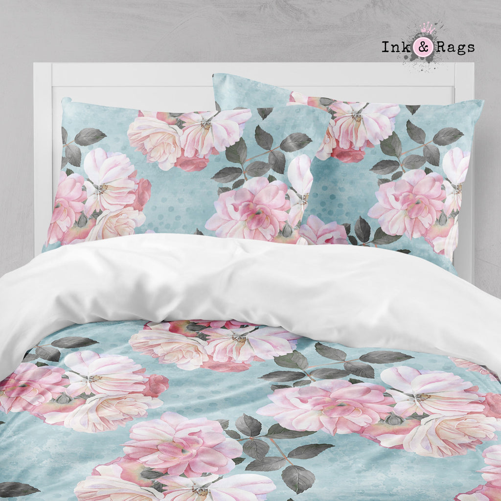 Powder Blue Dot and Pink Rose Floral Big Kids Bedding