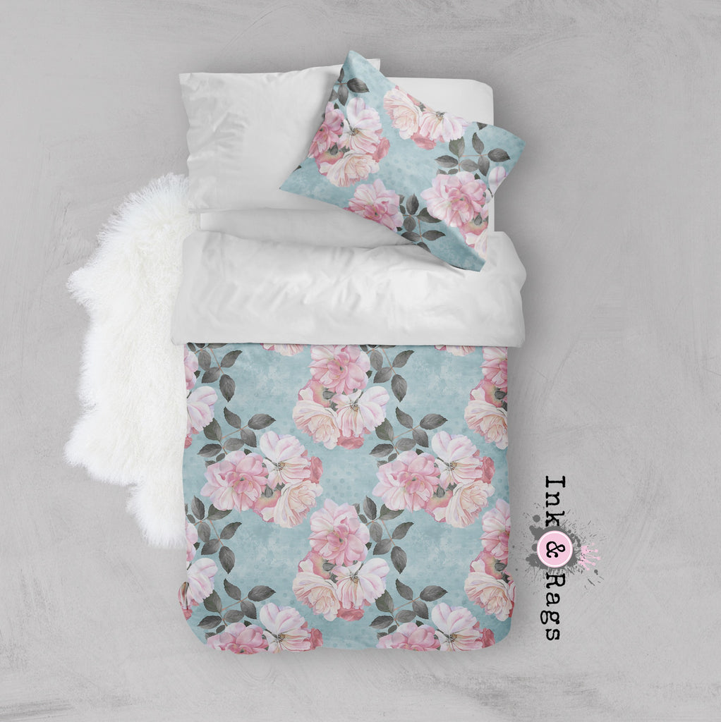 Powder Blue Dot and Pink Rose Floral Crib and Toddler Size Comforter Sets