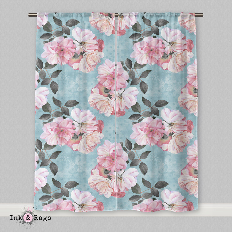 Powder Blue Dot and Pink Rose Floral  Curtains