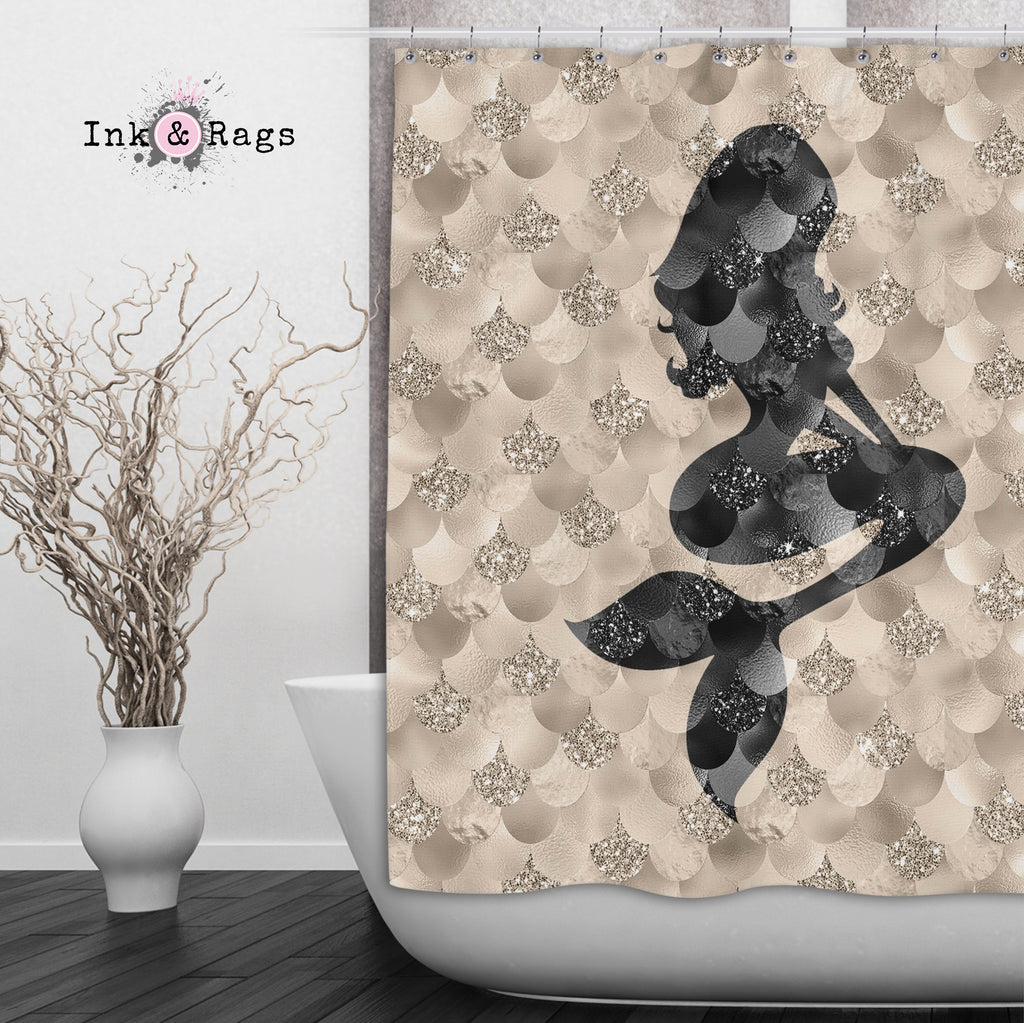 Gold and Black Mermaid Silhouette Shower Curtains and Optional Bath Mats