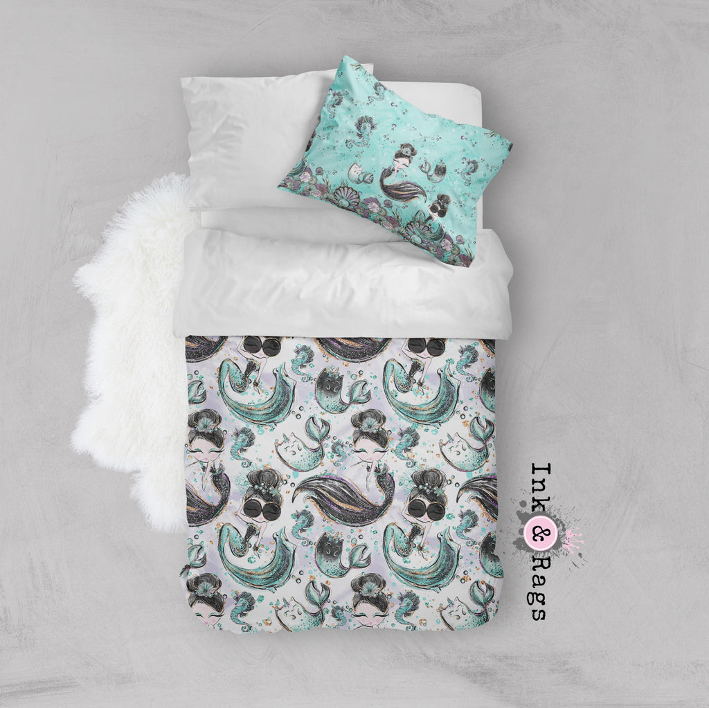 Breakfast At Tiffany Audrey Mermicorn Fashion Crib and Toddler Size Comforter Sets