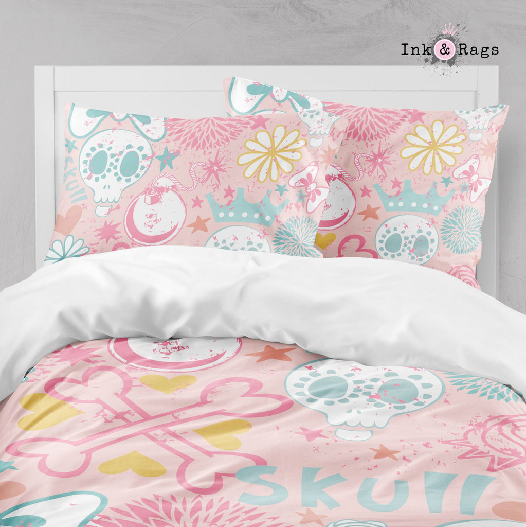 Pink Doodle Skull and Crown Big Kids Bedding