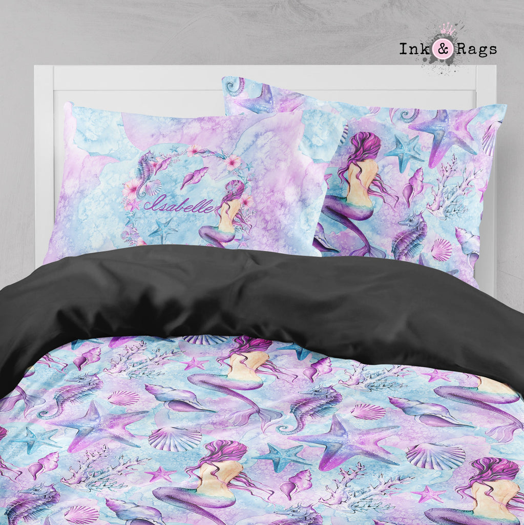 Personalized Purple Watercolor Mermaid Big Kids Bedding