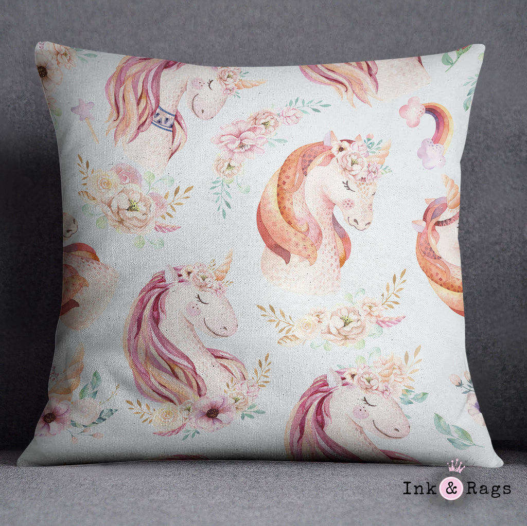 Sweet Watercolor Unicorn Decorative Throw Pillow Cover
