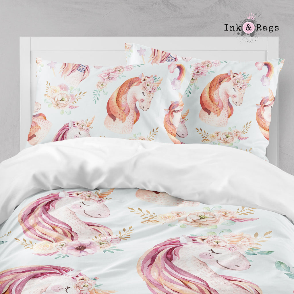Sweet Watercolor Unicorn Big Kids Bedding