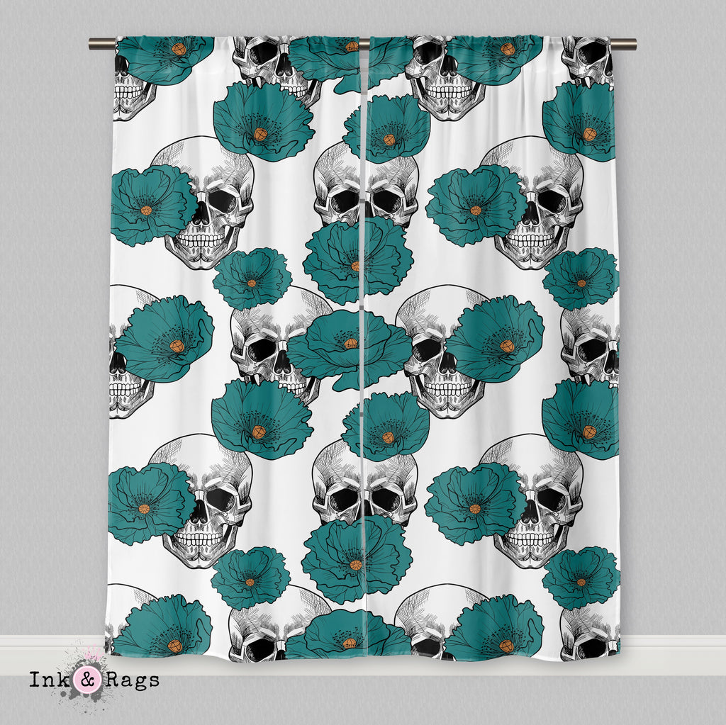 Teal Poppy and White Skull Flower Curtains