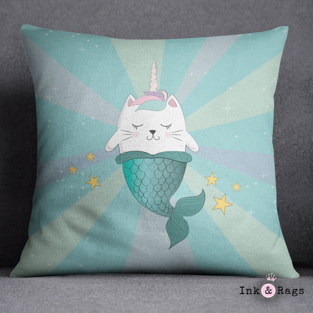 Caticorn Mermaids Unicorn Cat Mermaid Decorative Throw and Pillow Cover Set