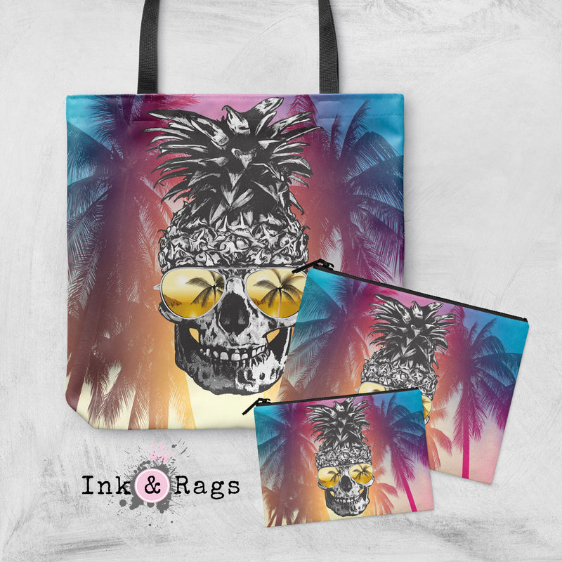 Pineapple Aviator Sunglasses with Sunset Palms Casual Tote OR Cosmetic Pouches