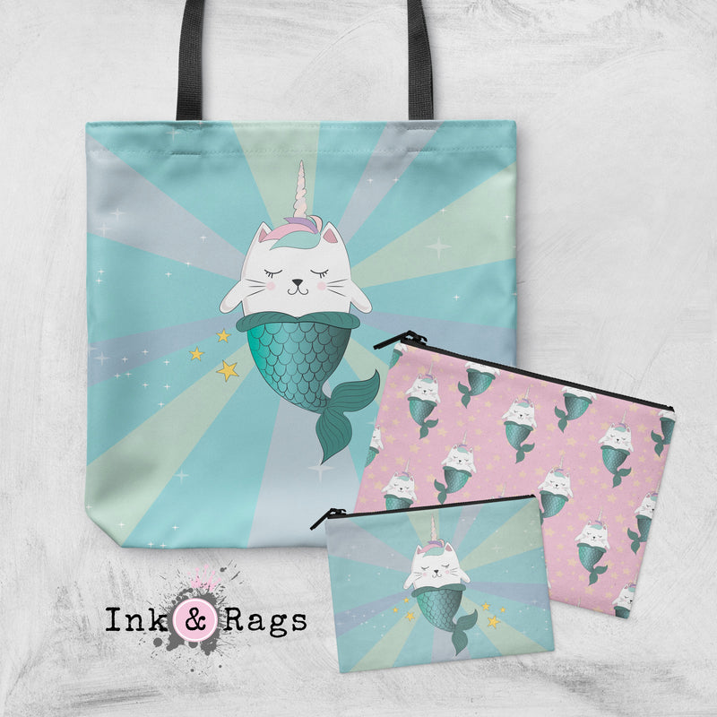 Caticorn Mermaids Unicorn Cat Mermaid Casual Tote OR Cosmetic Pouches