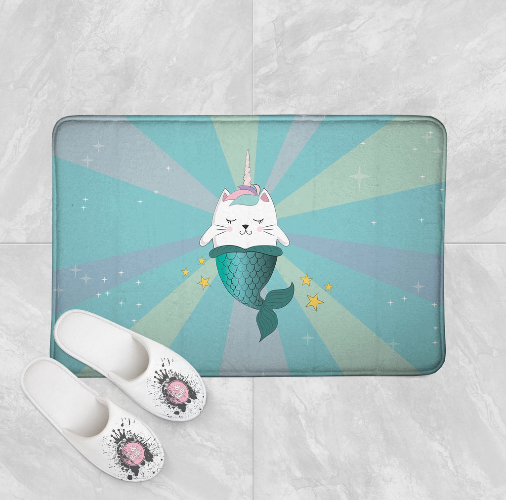 Caticorn Mermaids Pink Unicorn Cat Mermaid Shower Curtains and Optional Bath Mats