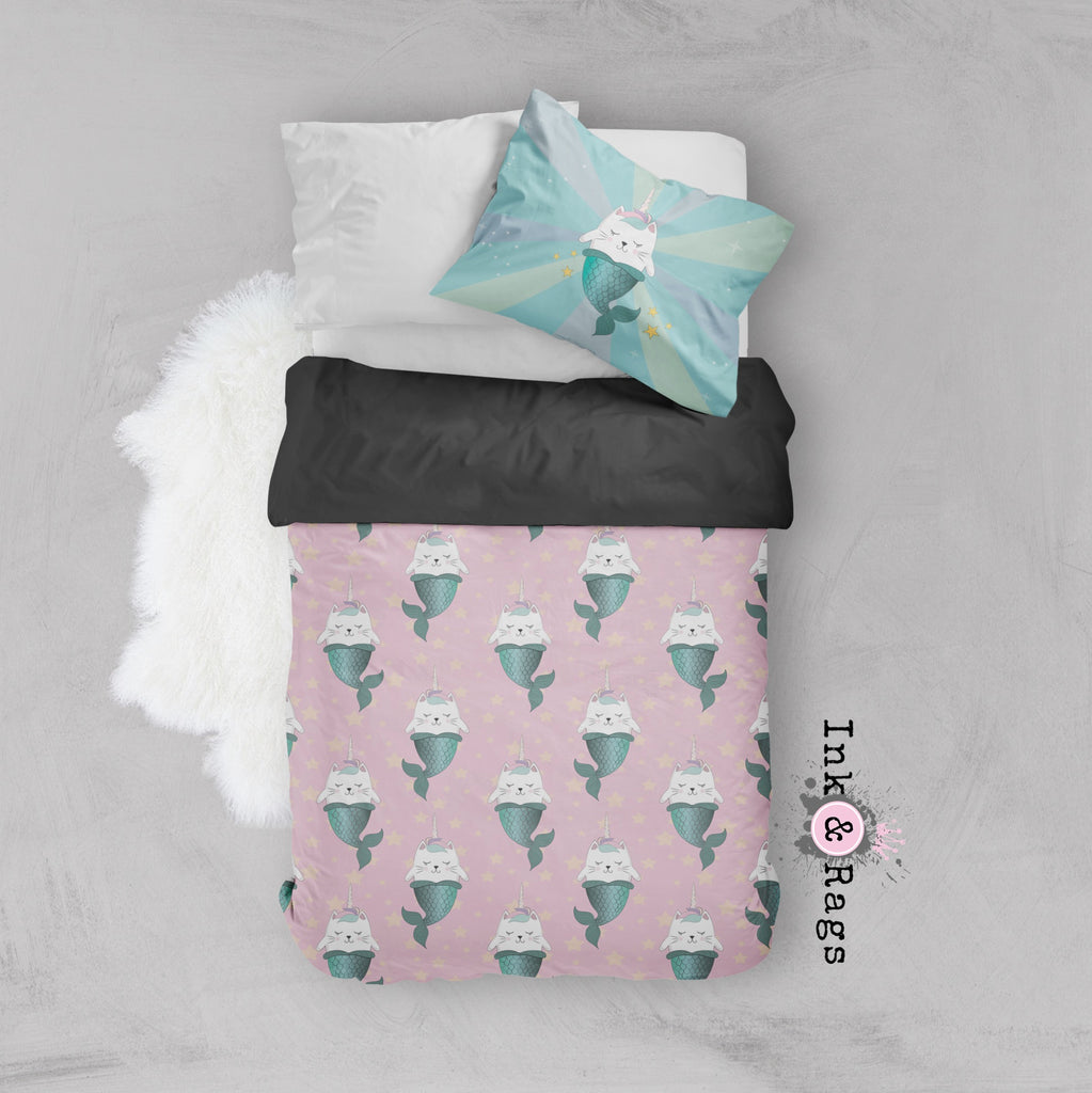 Caticorn Mermaids Unicorn Cat Mermaid Crib and Toddler Bedding