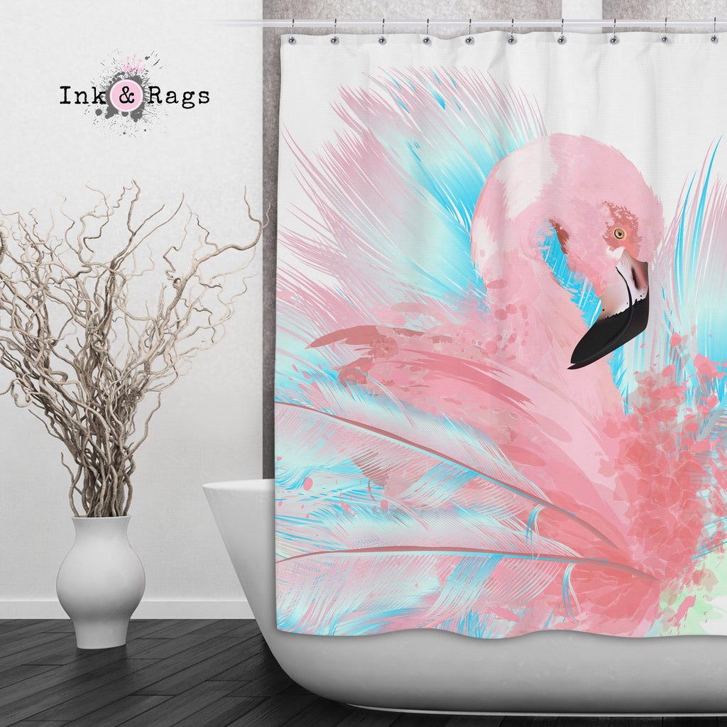 Watercolor Flamingo Shower Curtains and Optional Bath Mats
