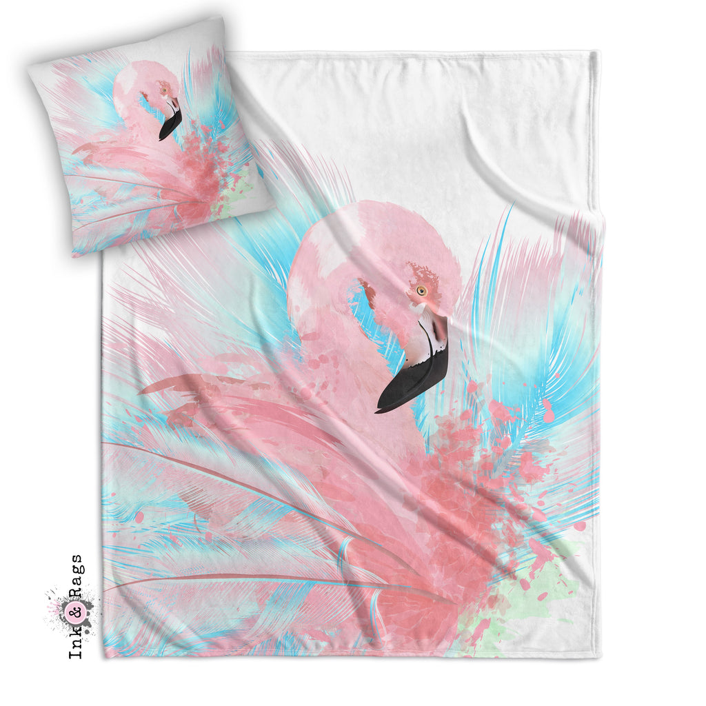 Watercolor Flamingo Decorative Throw and Pillow Cover Set
