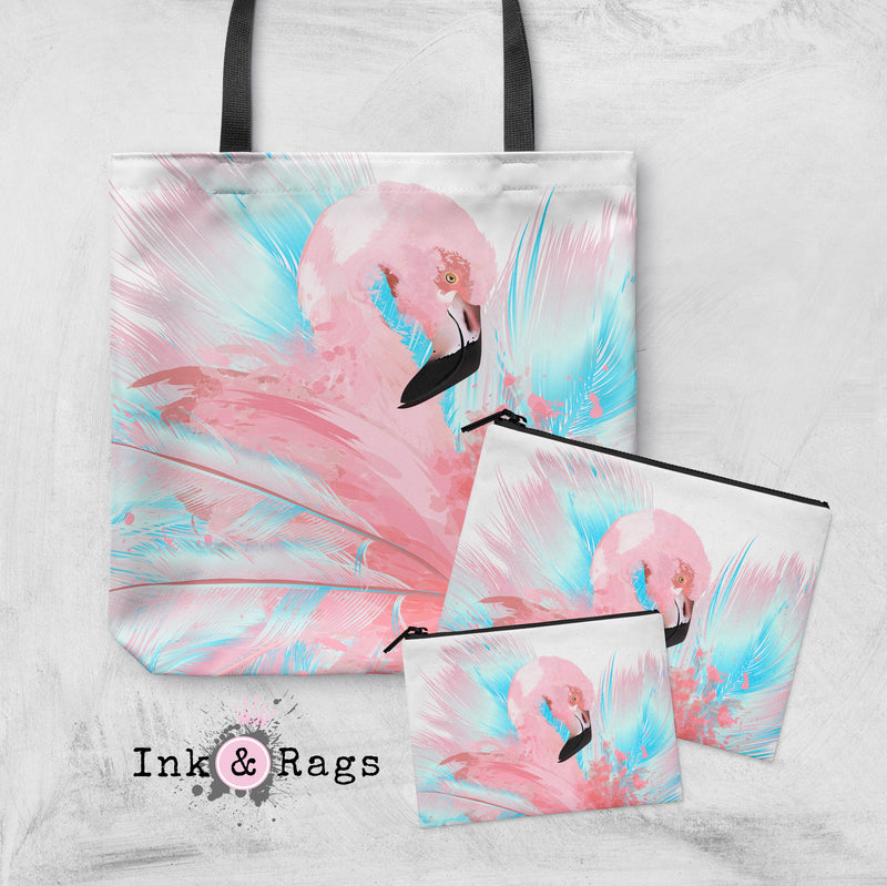 Watercolor Flamingo Casual Tote OR Cosmetic Pouches