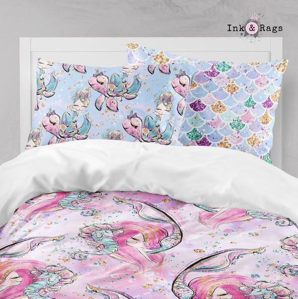 Mermaid Friends Turtle Seahorse Narwhal Merkitty Big Kids Bedding
