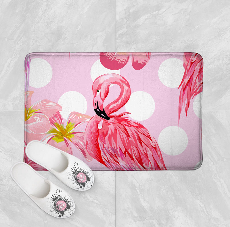 Pink Plumeria Flamingo Dot Shower Curtains and Bath Mats