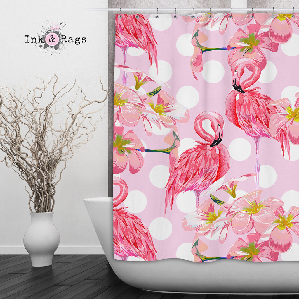 Pink Plumeria Flamingo Dot Shower Curtains and Optional Bath Mats