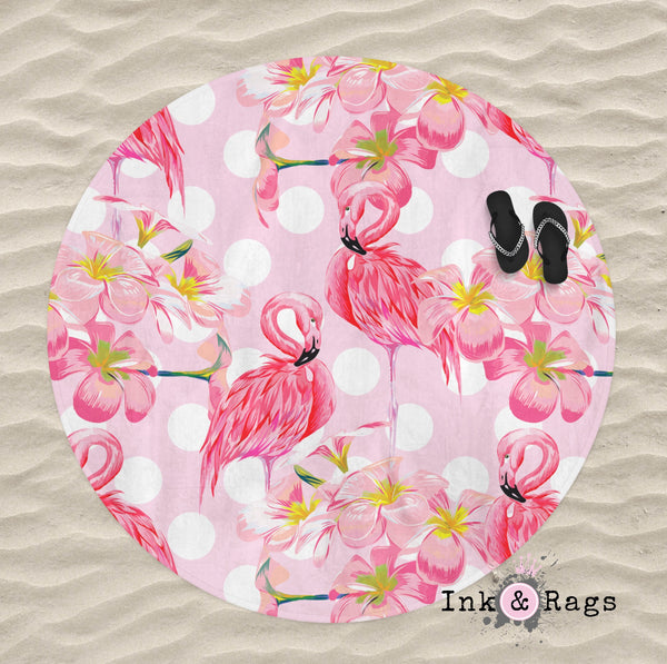Pink Plumeria Flamingo Dot Round Beach Towel