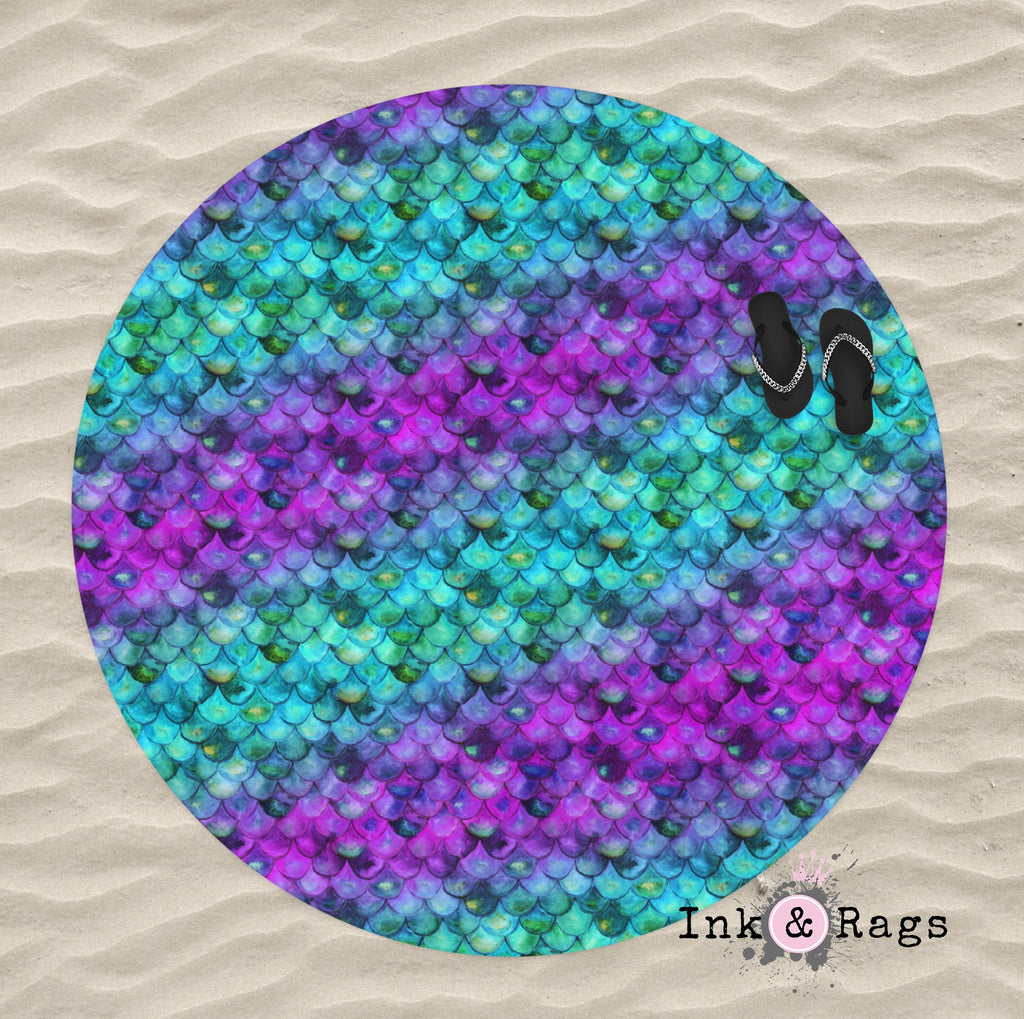 Mermaid Scales Watercolor Round Beach Towel
