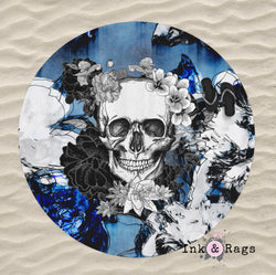 Abstract Blue Flower Skull Round Beach Towel