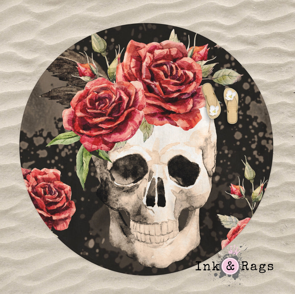 Antiqued Red Rose Skull Round Beach Towel