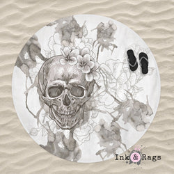 Beige on White Watercolor Skull Round Beach Towel