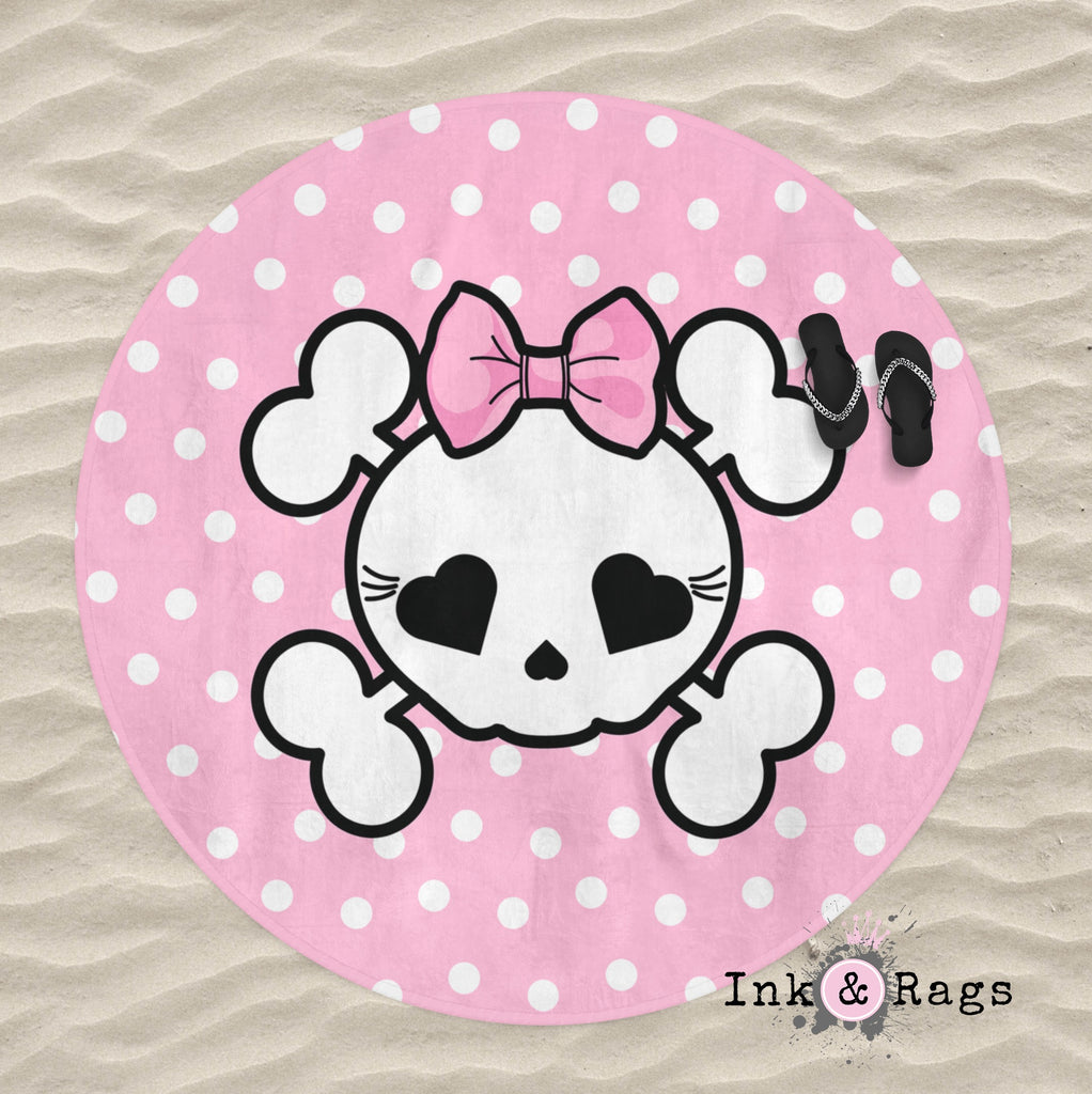 Pink Polka Dot Candy Skull Round Beach Towel
