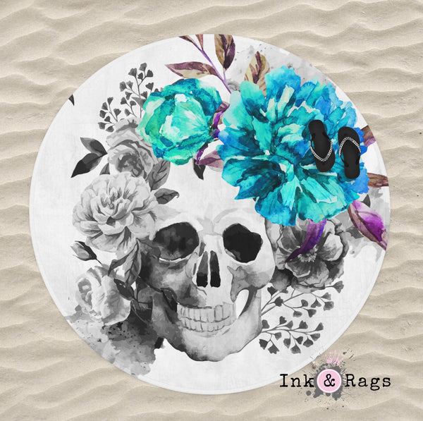 Teal Flower Watercolor Skull Round Beach Towel