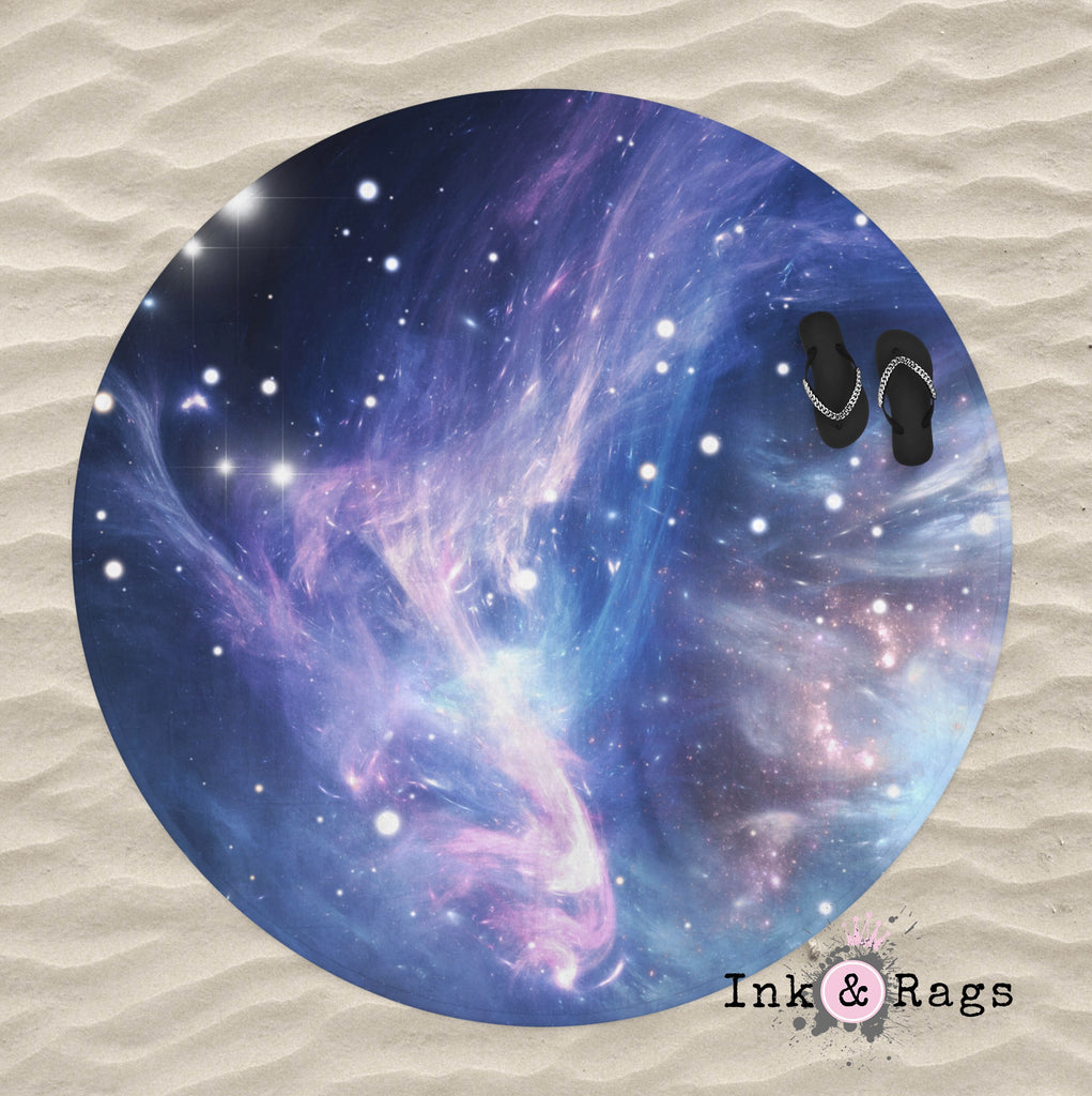 Blue Galaxy Round Beach Towel